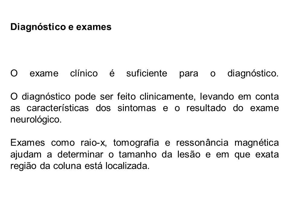 Diagnóstico e exames O exame clínico é suficiente para o diagnóstico.