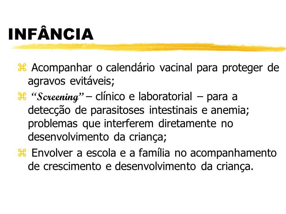 INFÂNCIA Acompanhar o calendário vacinal para proteger de agravos evitáveis;
