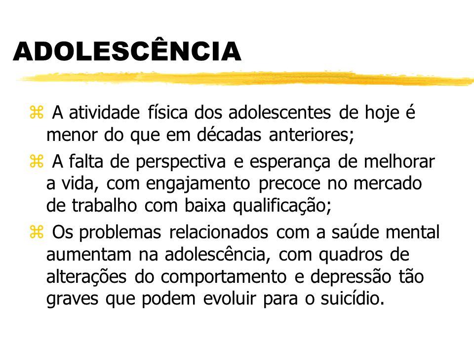 ADOLESCÊNCIA A atividade física dos adolescentes de hoje é menor do que em décadas anteriores;