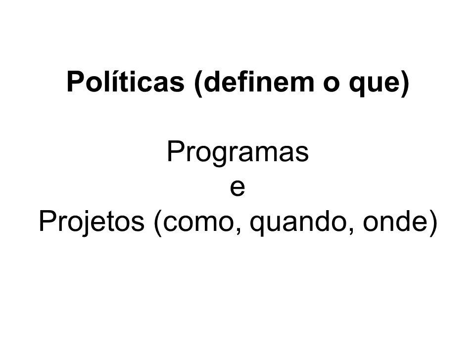 Políticas (definem o que) Programas e Projetos (como, quando, onde)