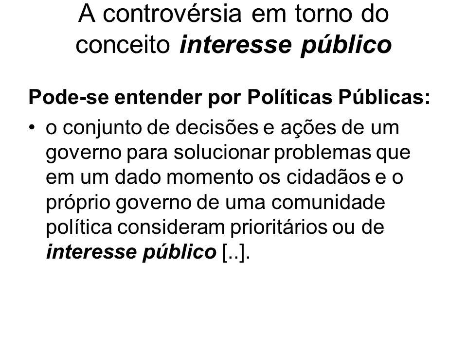 A controvérsia em torno do conceito interesse público