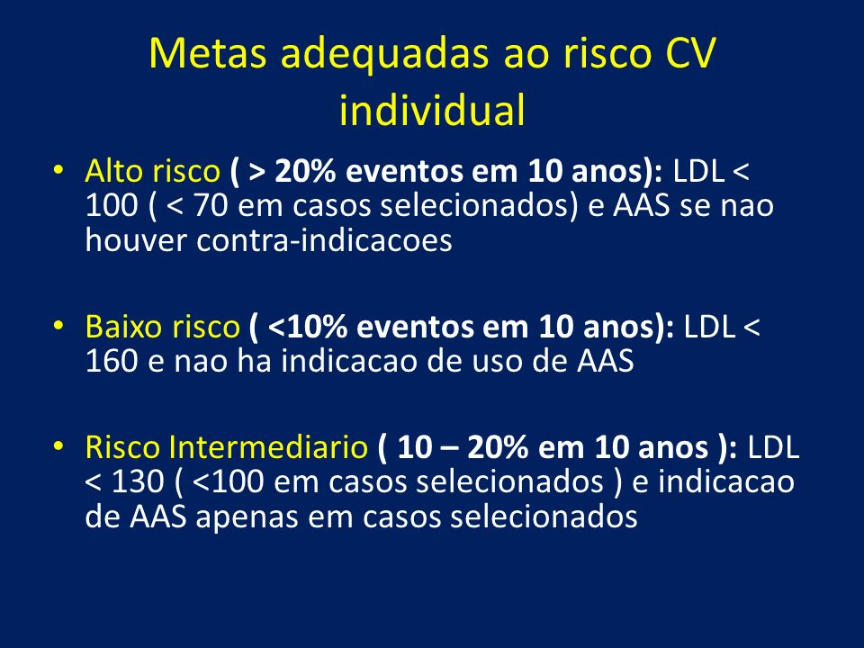 Metas adequadas ao risco CV individual