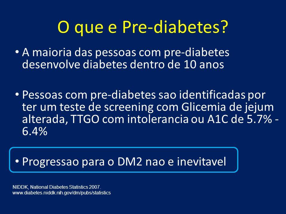 O que e Pre-diabetes A maioria das pessoas com pre-diabetes desenvolve diabetes dentro de 10 anos.