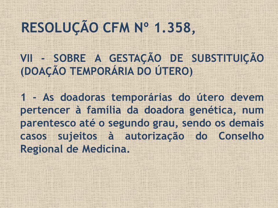 RESOLUÇÃO CFM Nº 1.358,VII - SOBRE A GESTAÇÃO DE SUBSTITUIÇÃO (DOAÇÃO TEMPORÁRIA DO ÚTERO)