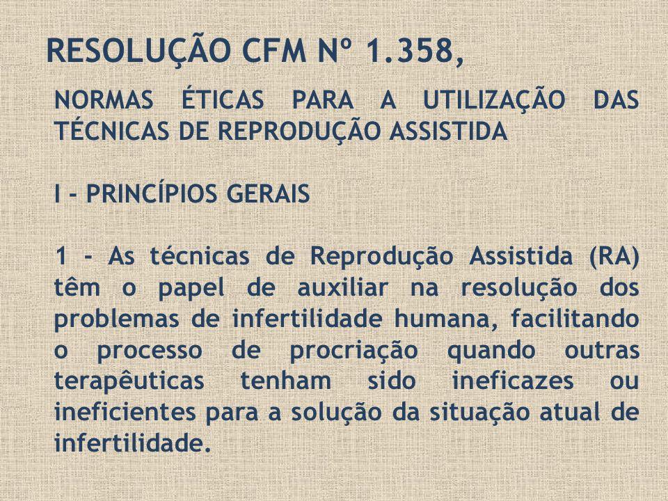 RESOLUÇÃO CFM Nº 1.358,NORMAS ÉTICAS PARA A UTILIZAÇÃO DAS TÉCNICAS DE REPRODUÇÃO ASSISTIDA. I - PRINCÍPIOS GERAIS.