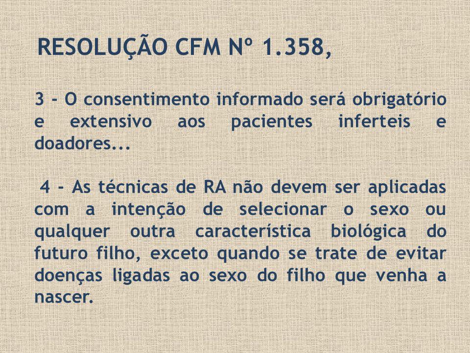 RESOLUÇÃO CFM Nº 1.358,3 - O consentimento informado será obrigatório e extensivo aos pacientes inferteis e doadores...