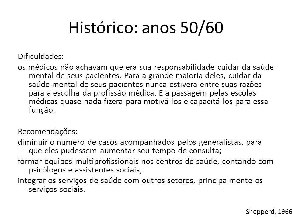 Histórico: anos 50/60