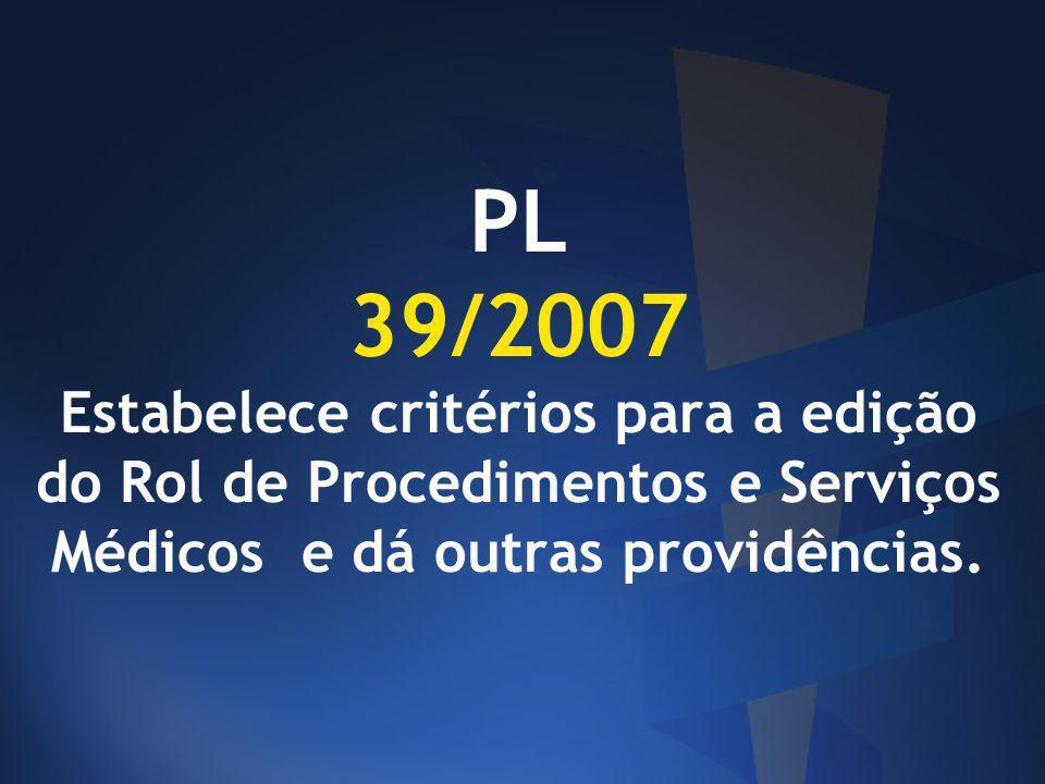 PL 39/2007 Estabelece critérios para a edição do Rol de Procedimentos e Serviços Médicos e dá outras providências.