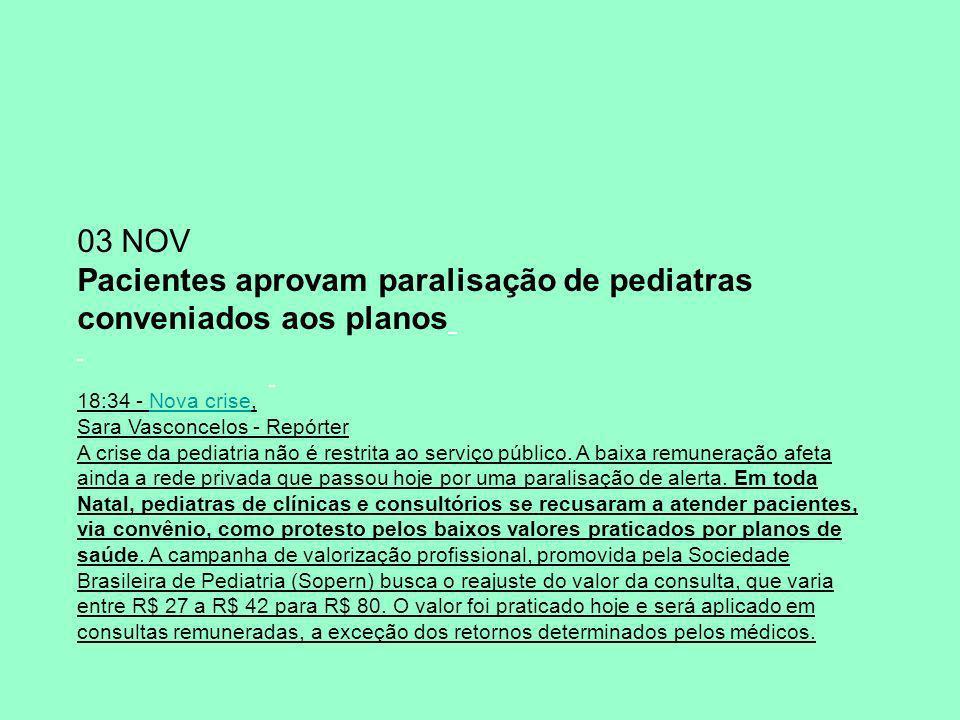 Pacientes aprovam paralisação de pediatras conveniados aos planos