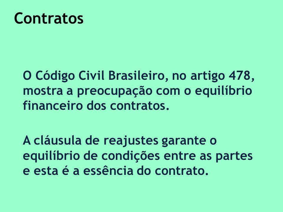 Contratos O Código Civil Brasileiro, no artigo 478, mostra a preocupação com o equilíbrio financeiro dos contratos.