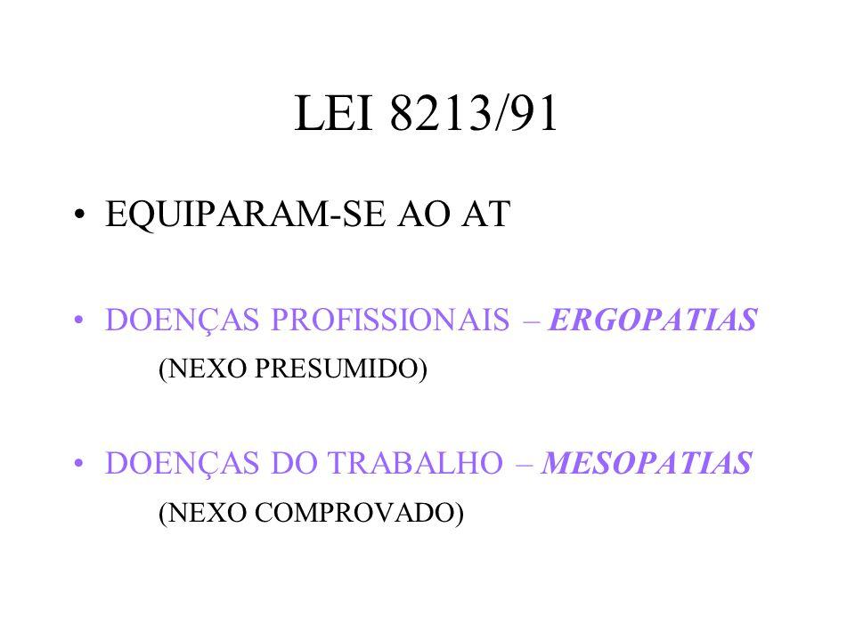 LEI 8213/91 EQUIPARAM-SE AO AT DOENÇAS PROFISSIONAIS – ERGOPATIAS