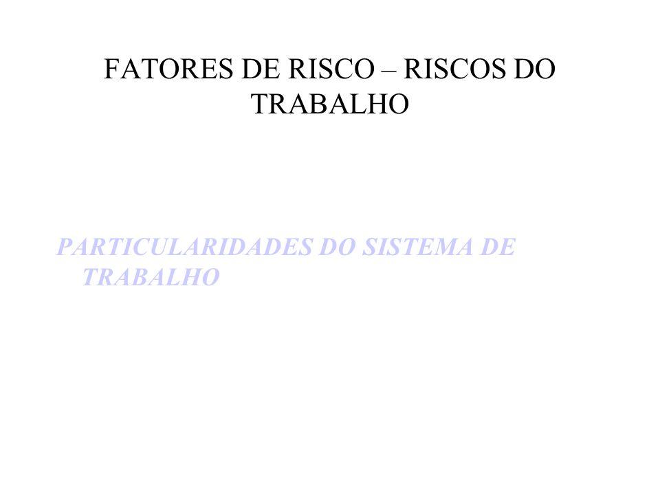 FATORES DE RISCO – RISCOS DO TRABALHO