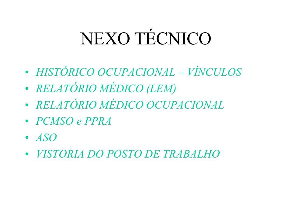 NEXO TÉCNICO HISTÓRICO OCUPACIONAL – VÍNCULOS RELATÓRIO MÉDICO (LEM)