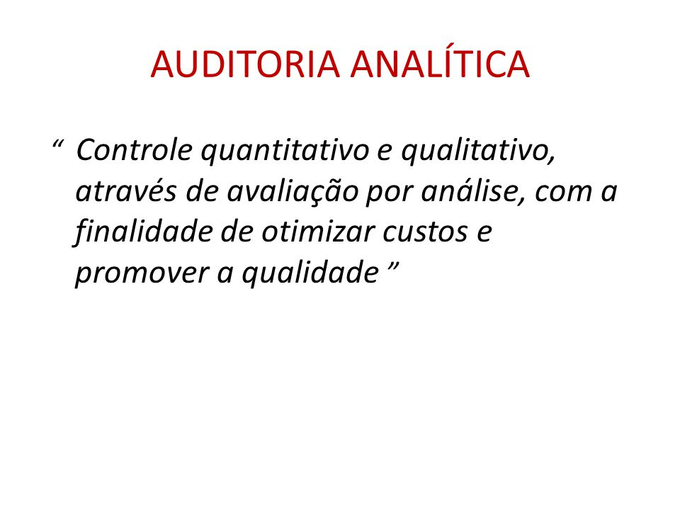 AUDITORIA ANALÍTICA