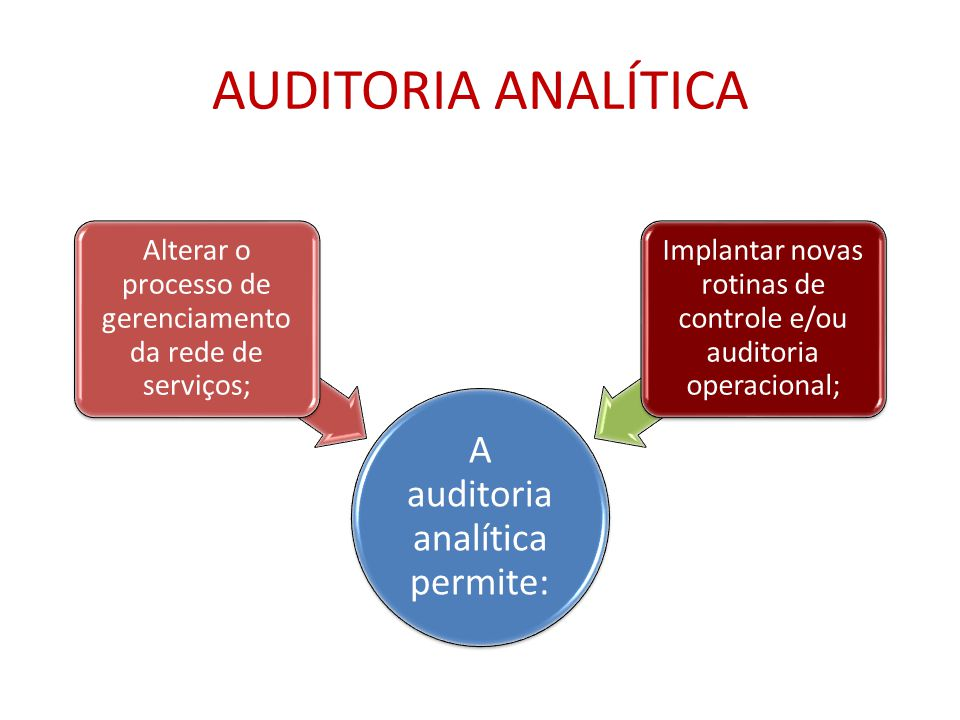 AUDITORIA ANALÍTICA A auditoria analítica permite: