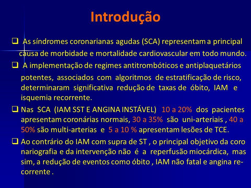 Introdução As síndromes coronarianas agudas (SCA) representam a principal. causa de morbidade e mortalidade cardiovascular em todo mundo.