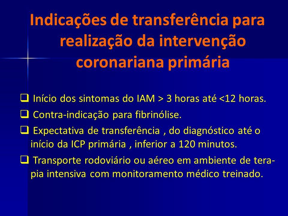 Indicações de transferência para realização da intervenção coronariana primária