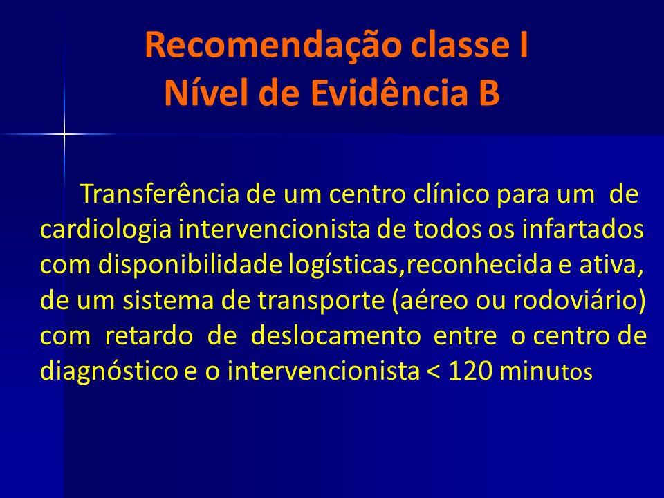 Recomendação classe I Nível de Evidência B