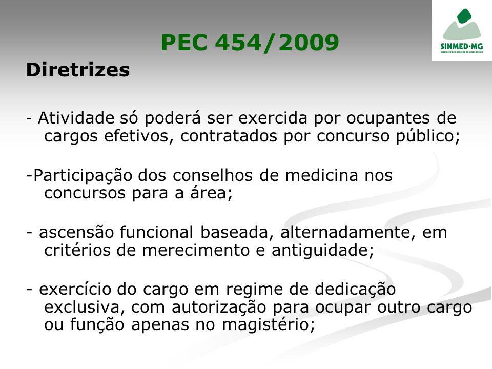 PEC 454/2009 Diretrizes. - Atividade só poderá ser exercida por ocupantes de cargos efetivos, contratados por concurso público;