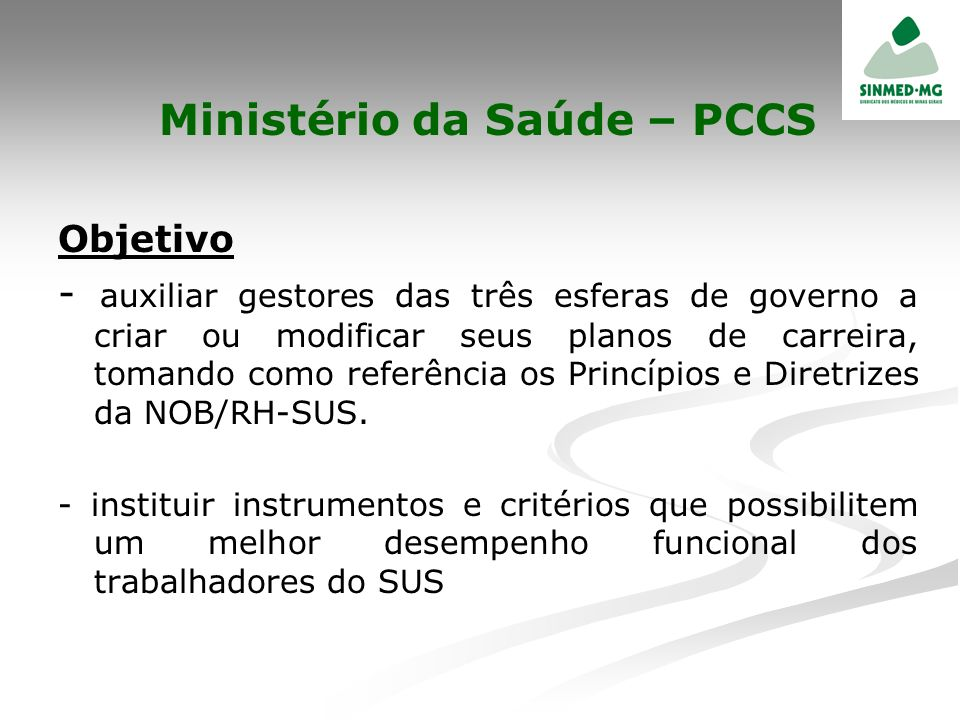 Ministério da Saúde – PCCS