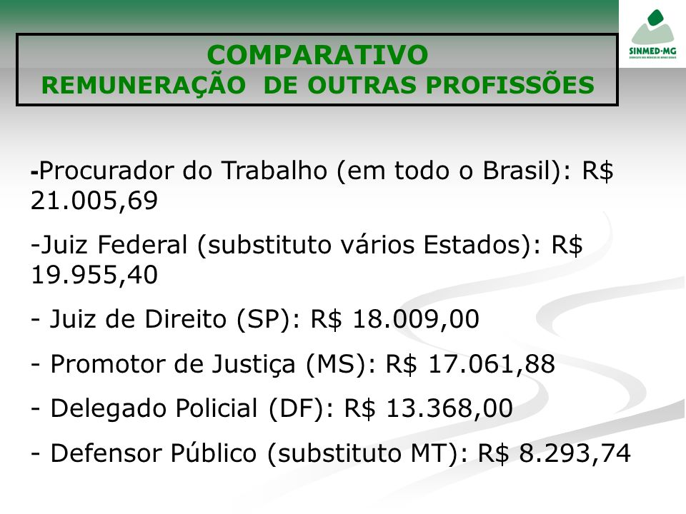 REMUNERAÇÃO DE OUTRAS PROFISSÕES