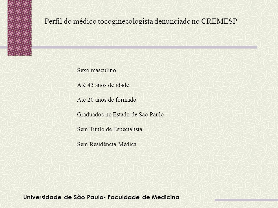 Perfil do médico tocoginecologista denunciado no CREMESP