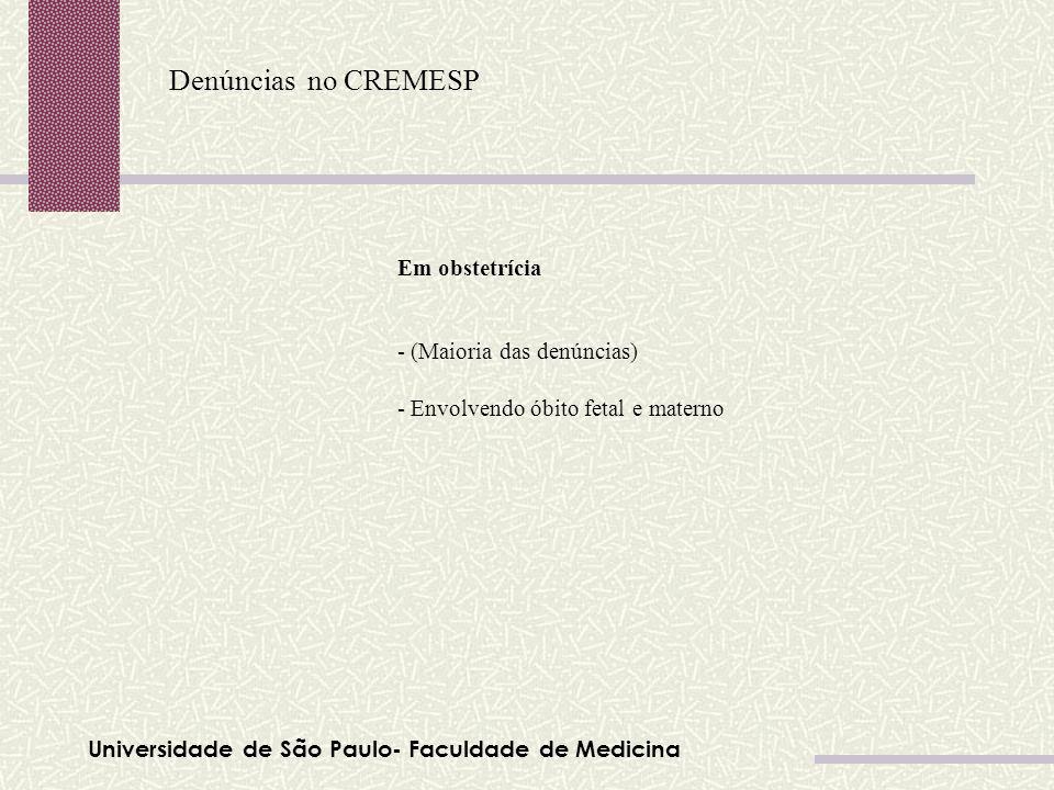 Denúncias no CREMESP Em obstetrícia - (Maioria das denúncias)