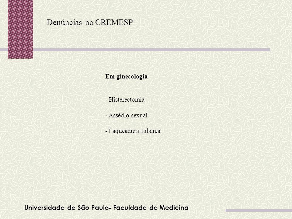 Denúncias no CREMESP Em ginecologia - Histerectomia - Assédio sexual