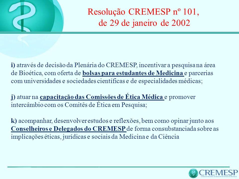 Resolução CREMESP nº 101, de 29 de janeiro de 2002