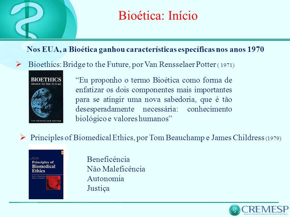 Bioética: InícioNos EUA, a Bioética ganhou características específicas nos anos 1970.