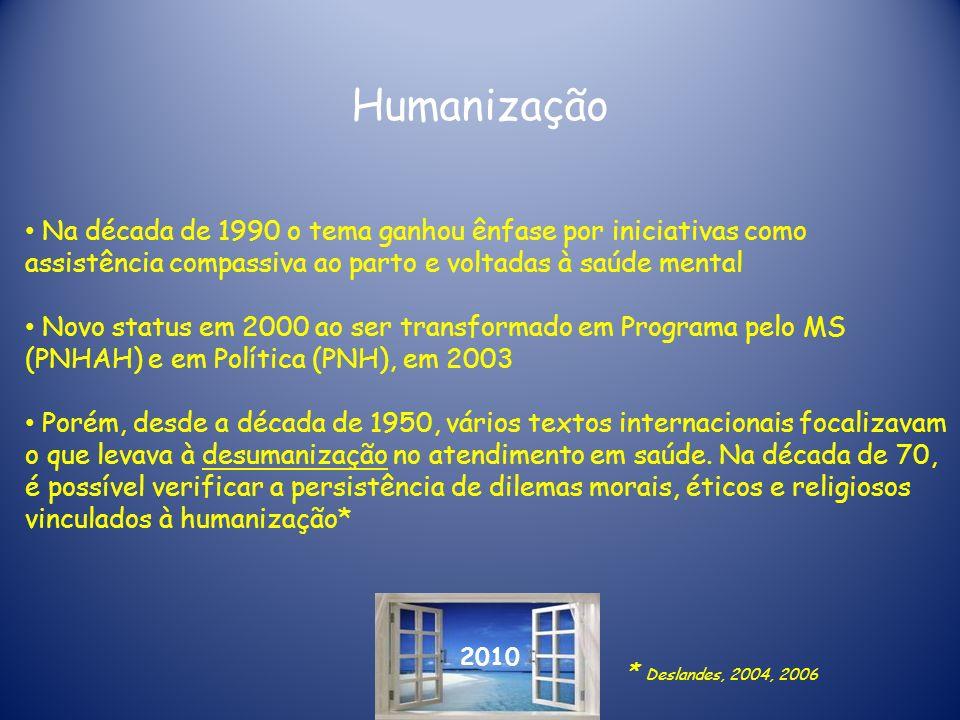 Humanização Na década de 1990 o tema ganhou ênfase por iniciativas como assistência compassiva ao parto e voltadas à saúde mental.