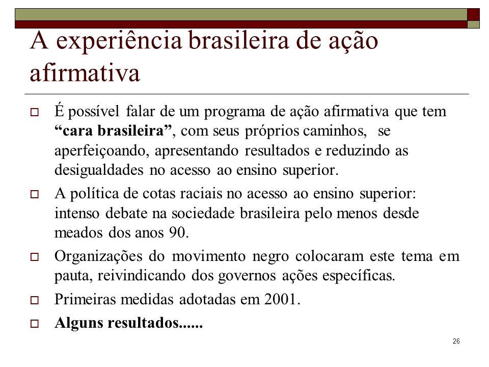 A experiência brasileira de ação afirmativa