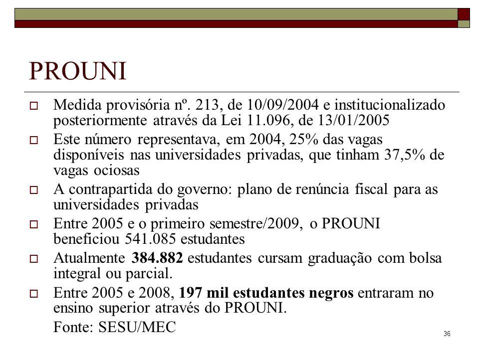 PROUNI Medida provisória nº. 213, de 10/09/2004 e institucionalizado posteriormente através da Lei 11.096, de 13/01/2005.
