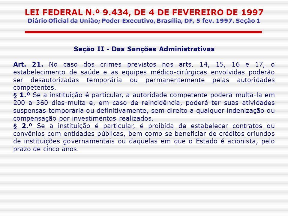 Seção II - Das Sanções Administrativas