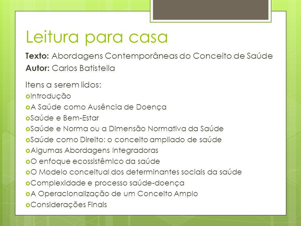 Leitura para casa Texto: Abordagens Contemporâneas do Conceito de Saúde. Autor: Carlos Batistella.