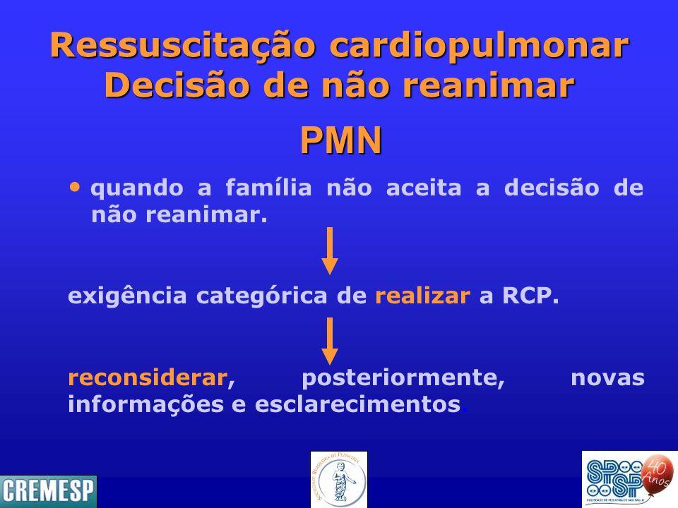 Ressuscitação cardiopulmonar Decisão de não reanimar