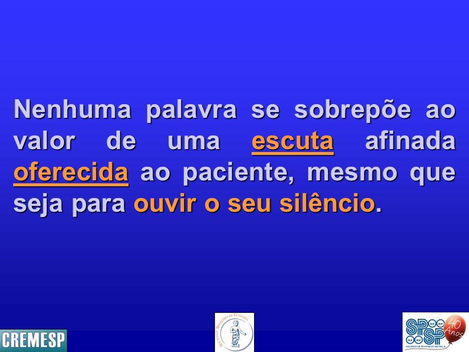 Nenhuma palavra se sobrepõe ao valor de uma escuta afinada oferecida ao paciente, mesmo que seja para ouvir o seu silêncio.