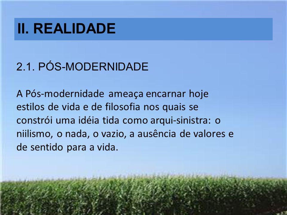 II. REALIDADE 2.1. PÓS-MODERNIDADE