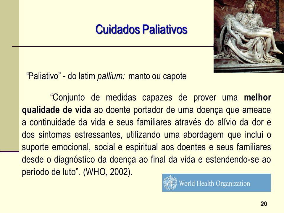Cuidados Paliativos Paliativo - do latim pallium: manto ou capote.