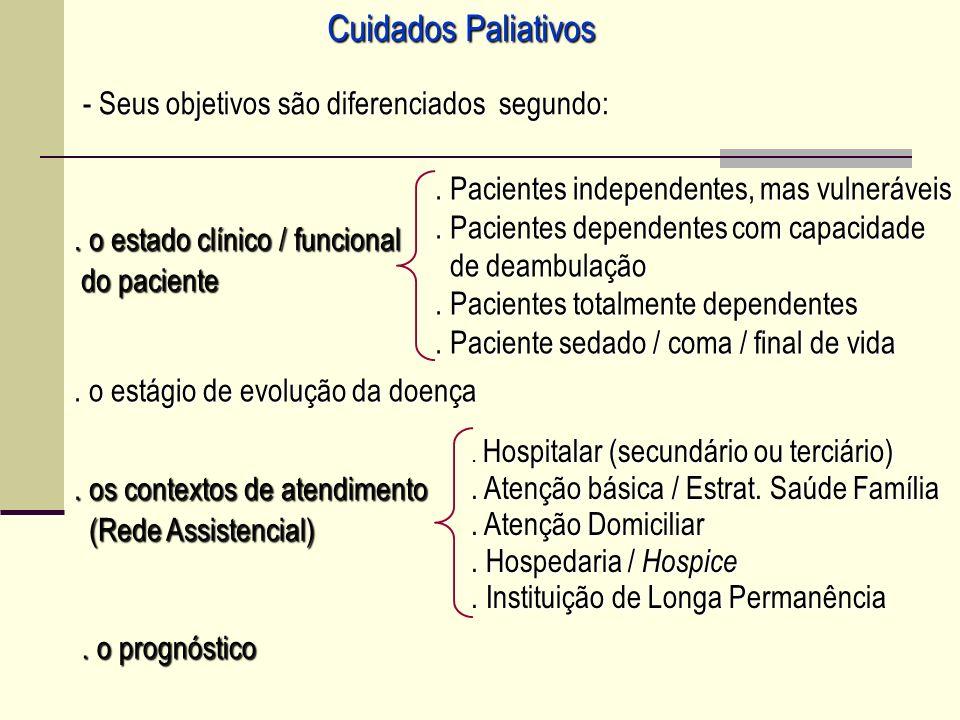 Cuidados Paliativos - Seus objetivos são diferenciados segundo: