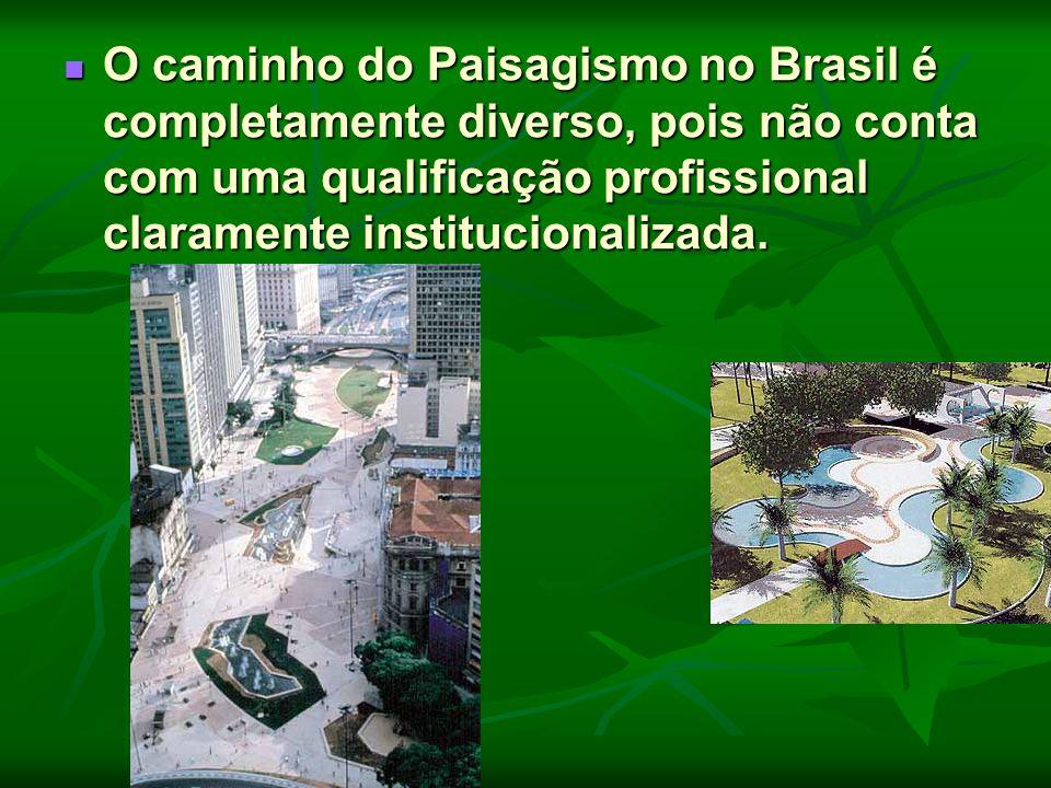 O caminho do Paisagismo no Brasil é completamente diverso, pois não conta com uma qualificação profissional claramente institucionalizada.