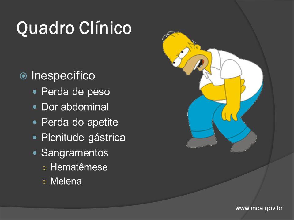 Quadro Clínico Inespecífico Perda de peso Dor abdominal