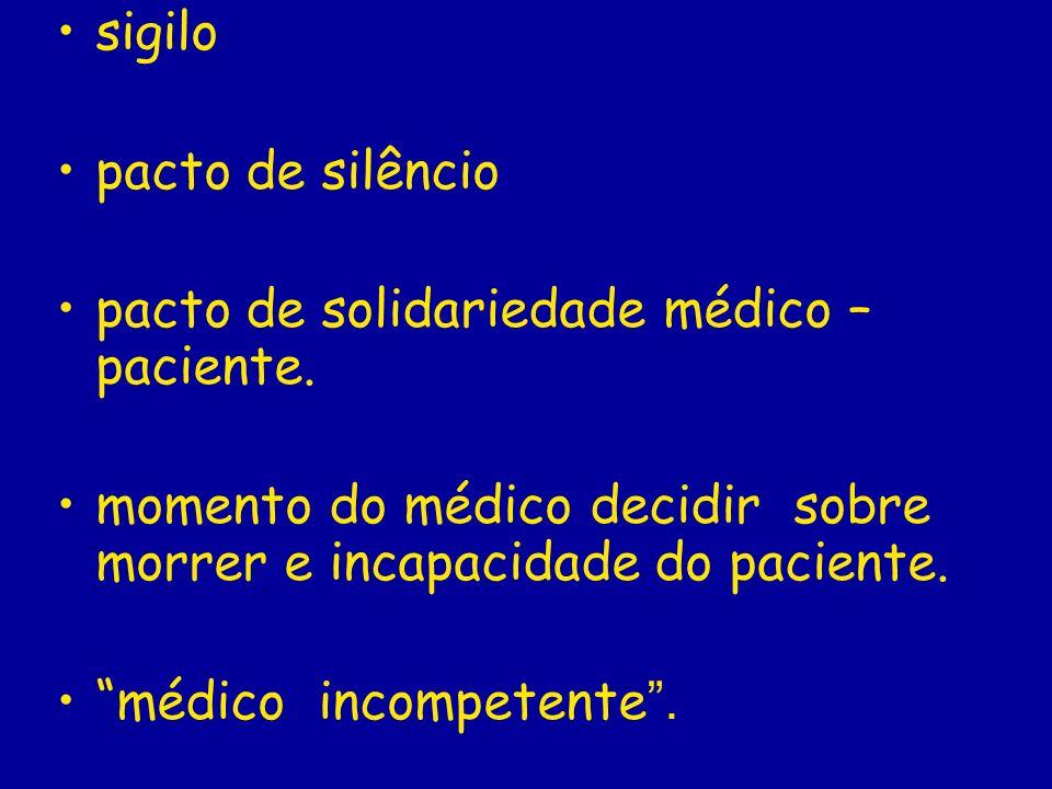 sigilo pacto de silêncio. pacto de solidariedade médico – paciente. momento do médico decidir sobre morrer e incapacidade do paciente.