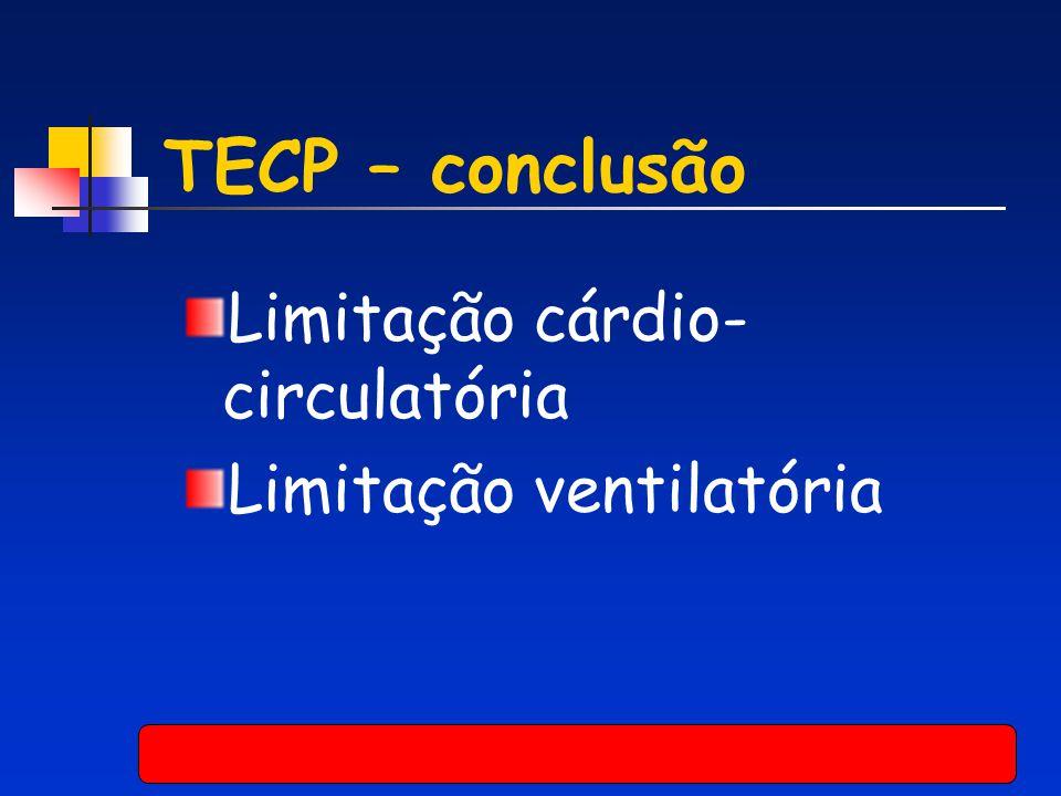 TECP – conclusão Limitação cárdio-circulatória Limitação ventilatória