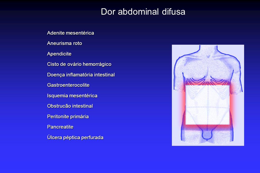 Dor abdominal difusa Adenite mesentérica Aneurisma roto Apendicite