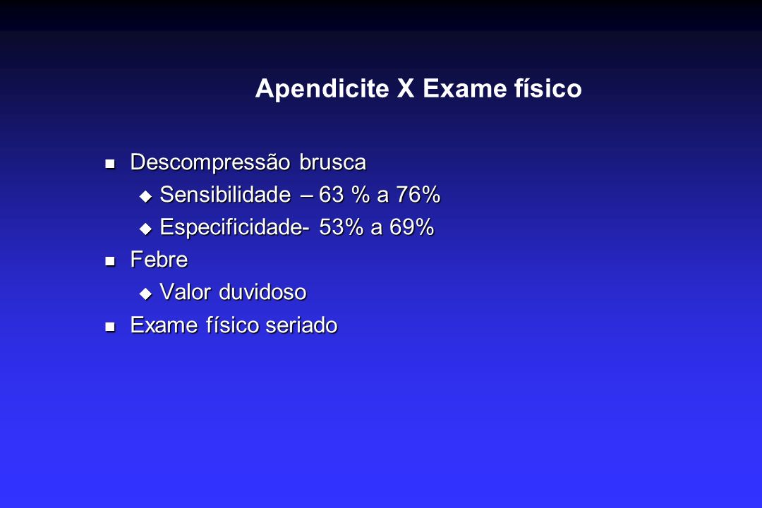 Apendicite X Exame físico