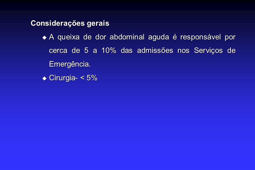 Considerações gerais A queixa de dor abdominal aguda é responsável por cerca de 5 a 10% das admissões nos Serviços de Emergência.