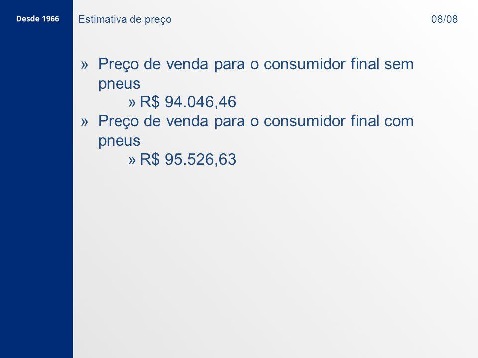 Preço de venda para o consumidor final sem pneus R$ 94.046,46