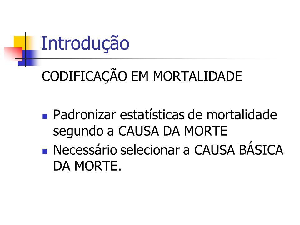 Introdução CODIFICAÇÃO EM MORTALIDADE