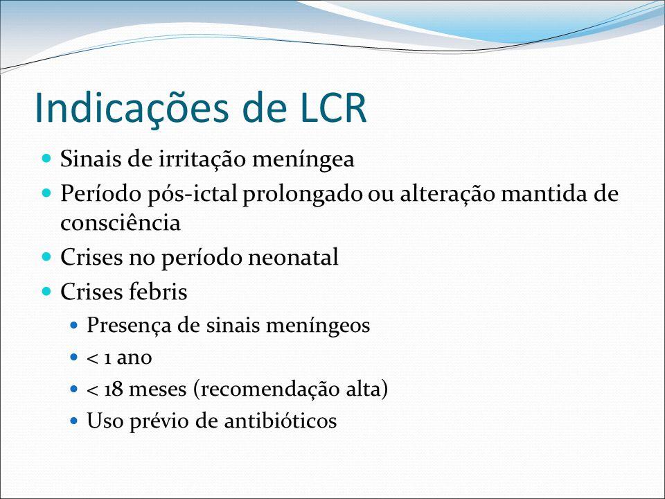Indicações de LCR Sinais de irritação meníngea